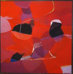 Red Composition - Oil on Canvas by Marcello Avenali - 1970s