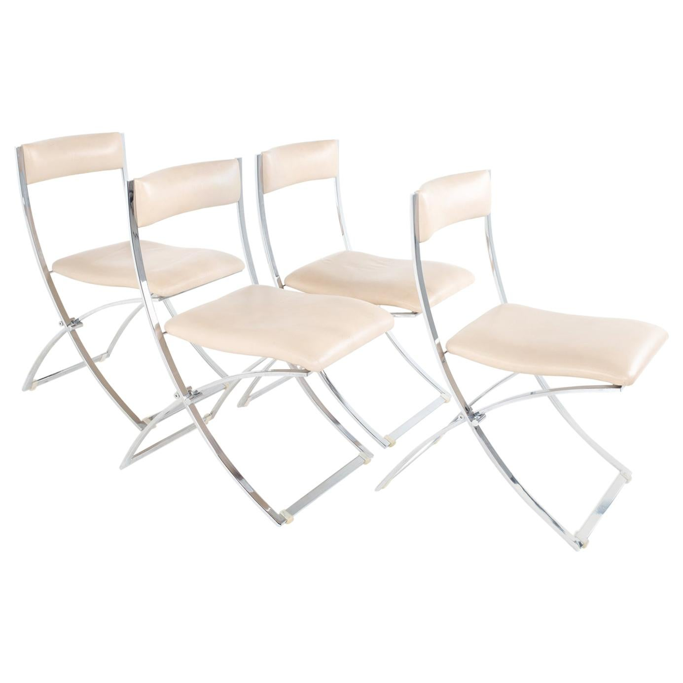 Marcello Cuneo Luisa Mid Century Chrome Folding Dining Chairs, Set of 4