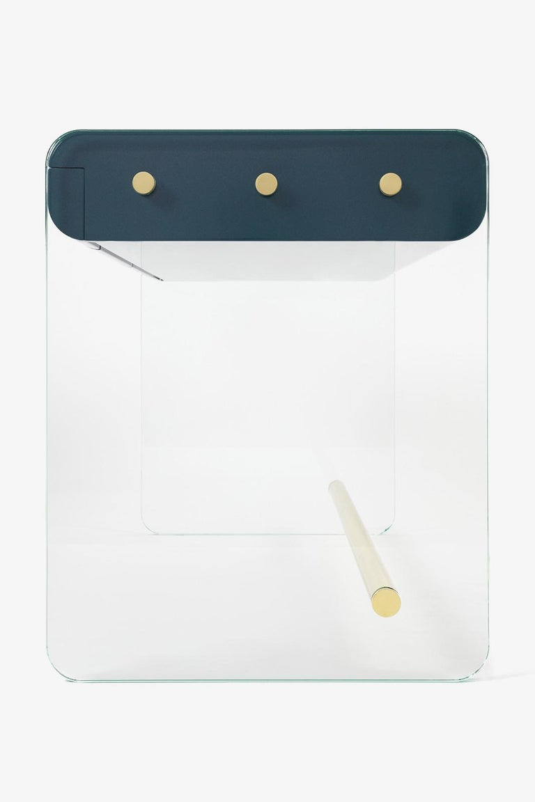 Ebony French Marcello Desk in Blue Lacquer, Glass, and Brass by Joris Poggioli For Sale