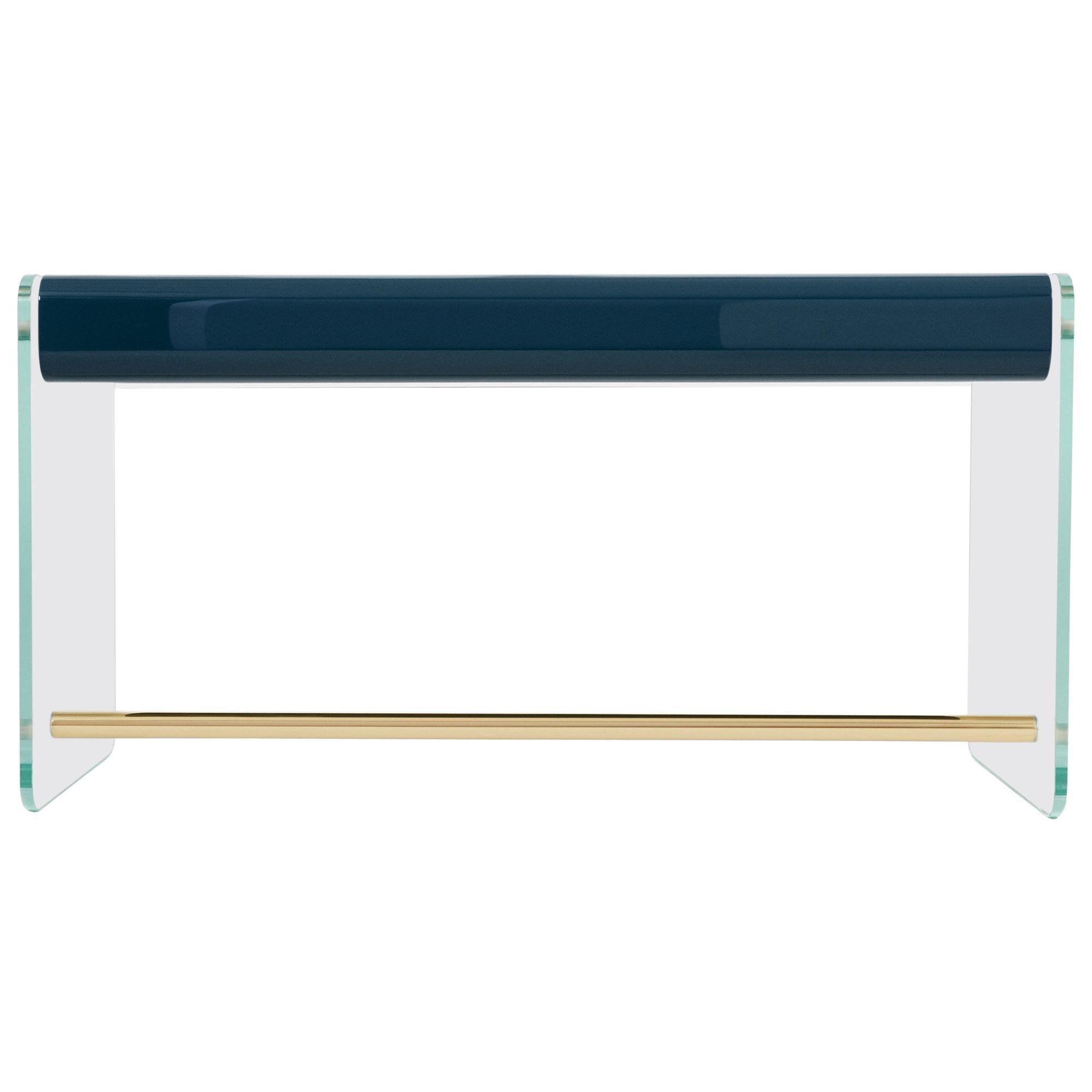French Marcello Desk in Blue Lacquer, Glass, and Brass by Joris Poggioli