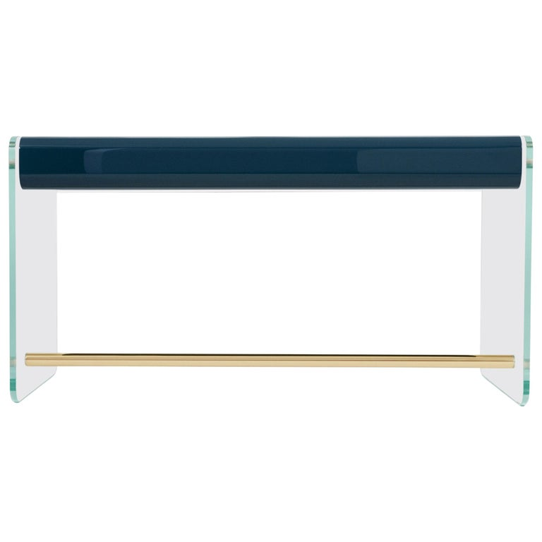 French Marcello Desk in Blue Lacquer, Glass, and Brass by Joris Poggioli For Sale