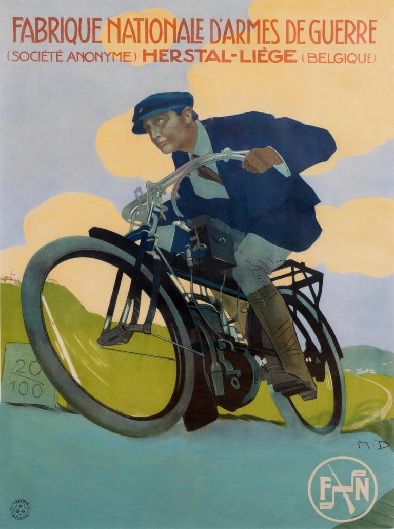 """""""Fabrique Nationale d'Armes de Guerre"""" Original Vintage Motorcycle Poster - Print by Marcello Dudovich"""