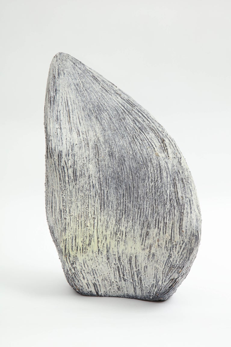 Marcello Fantoni abstract sculpture is glazed ceramic made in 1962. This piece was acquired directly from the artist by the seller, who was a personal friend of Marcello Fantoni. Glazed signature to underside: [Fantoni 1962].