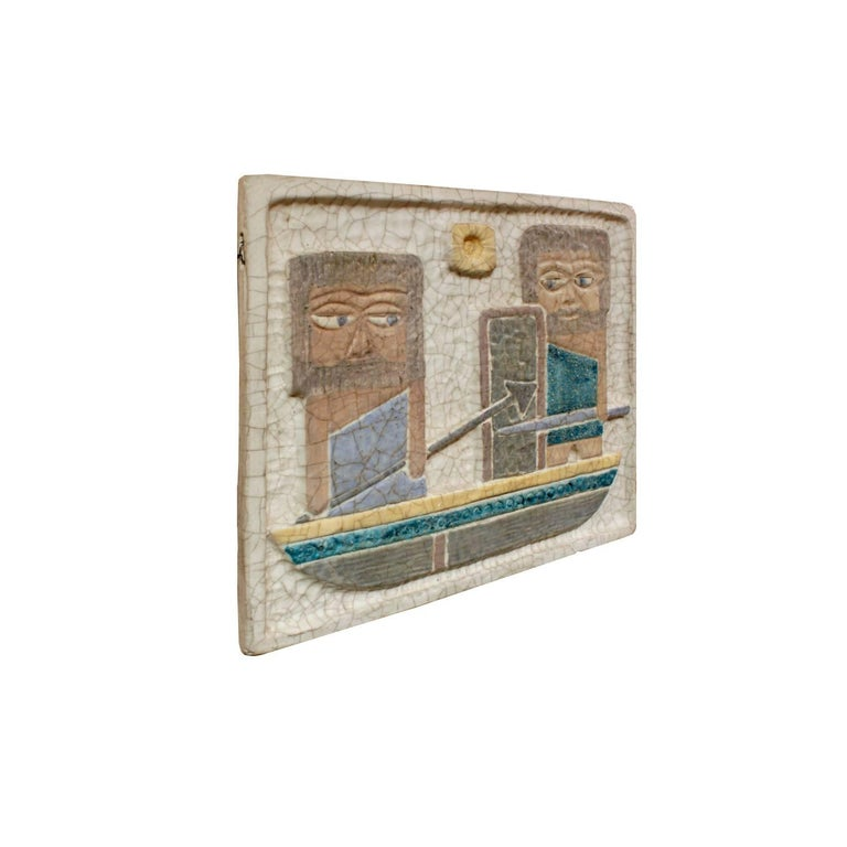 Ceramic wall plaque with two male warriors in a boat by Marcello Fantoni, Italy, 1950s (signed