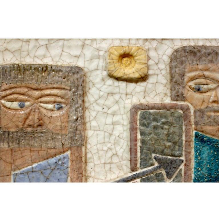 Mid-Century Modern Marcello Fantoni Figural Ceramic Wall Plaque, 1950s For Sale