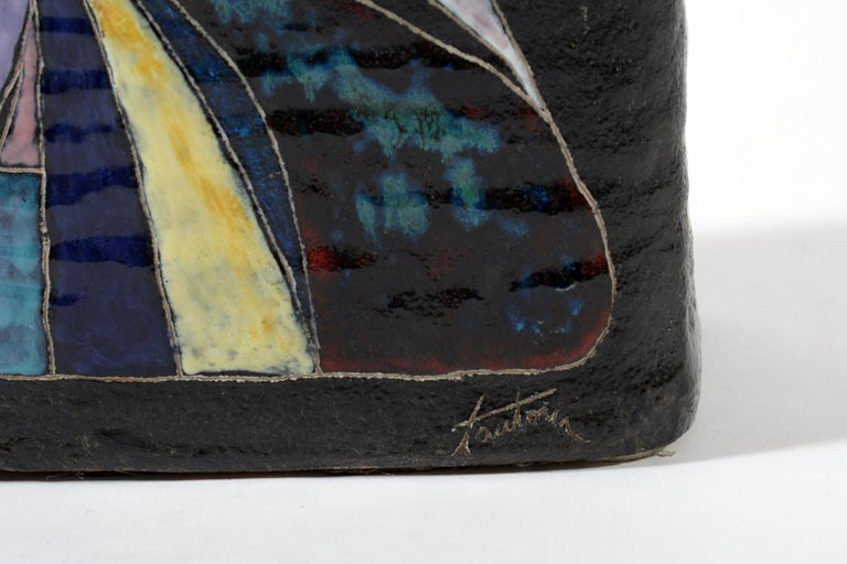 Marcello Fantoni Midcentury Italian Ceramic Vase Double Decoration, 1950s For Sale 7
