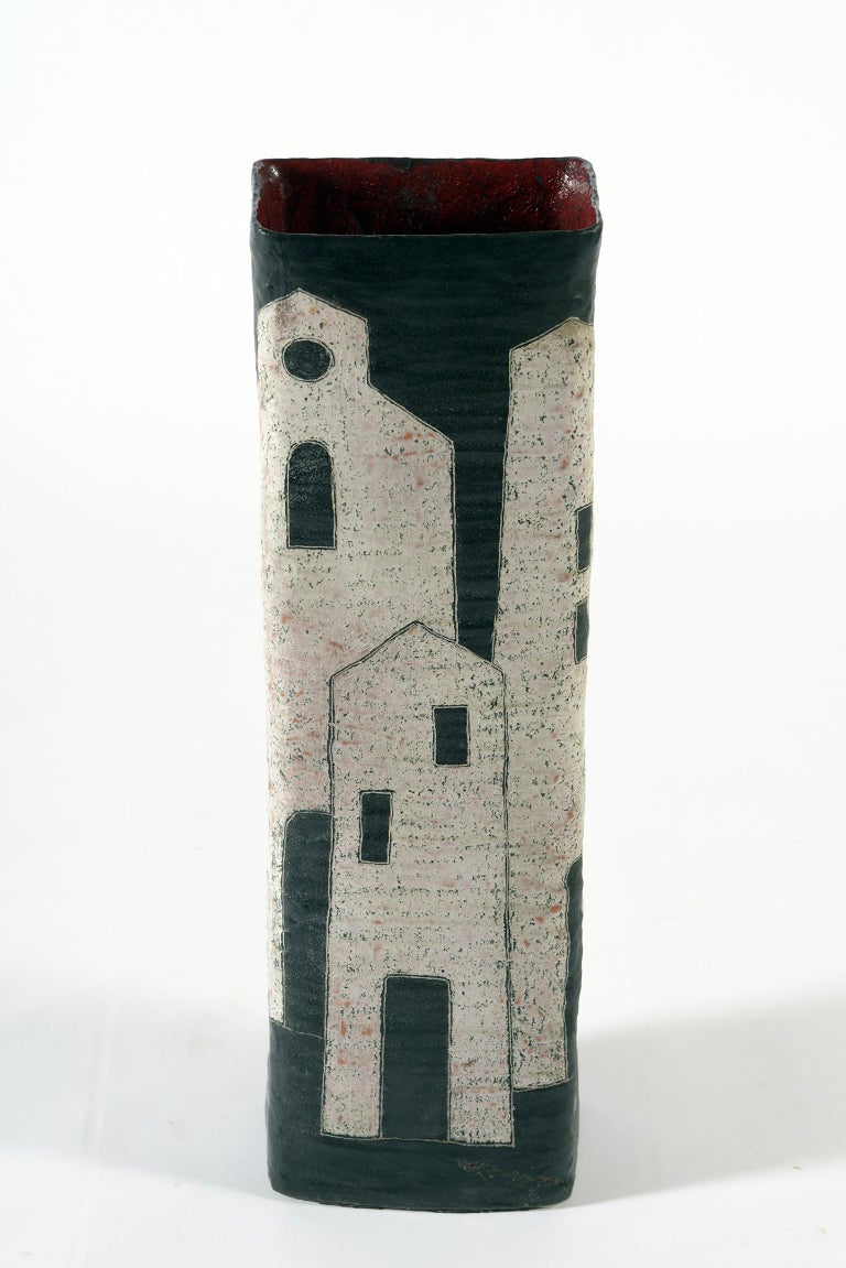 Mid-Century Modern Marcello Fantoni Midcentury Italian Ceramic Vase Double Decoration, 1950s For Sale