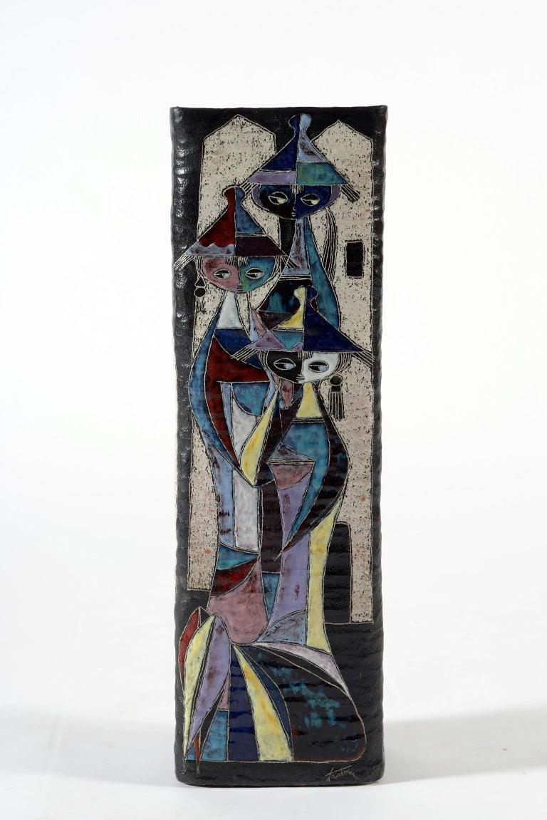Mid-20th Century Marcello Fantoni Midcentury Italian Ceramic Vase Double Decoration, 1950s For Sale