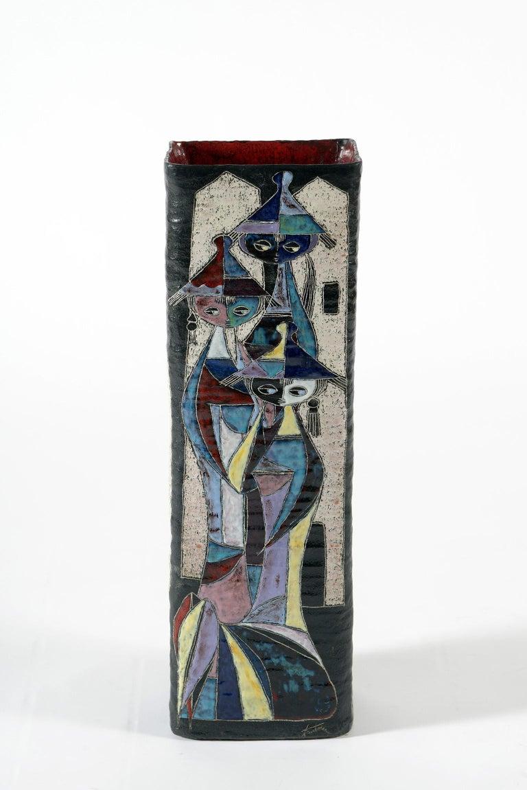 Marcello Fantoni Midcentury Italian Ceramic Vase Double Decoration, 1950s For Sale 2