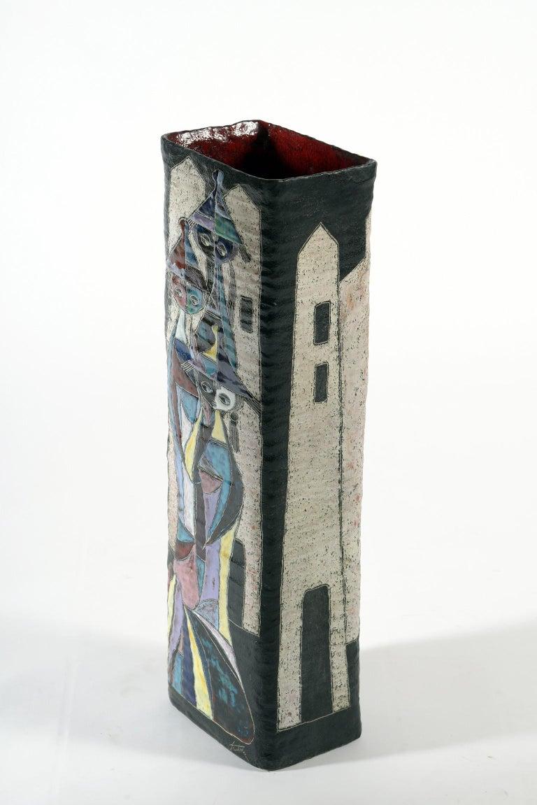 Marcello Fantoni Midcentury Italian Ceramic Vase Double Decoration, 1950s For Sale 4