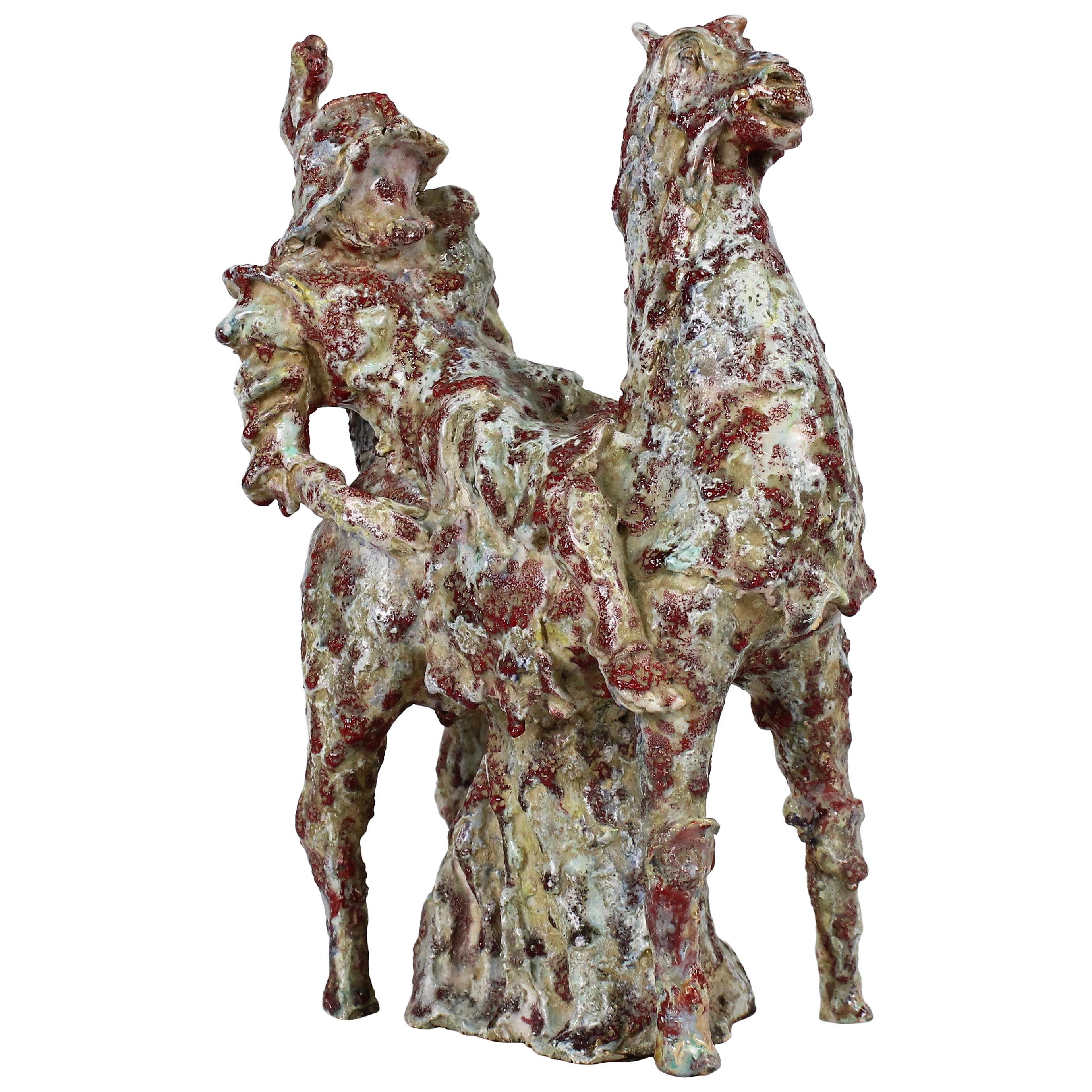 Marcello Fantoni Modernist Ceramic Equestrian Sculpture, Italy, 1949