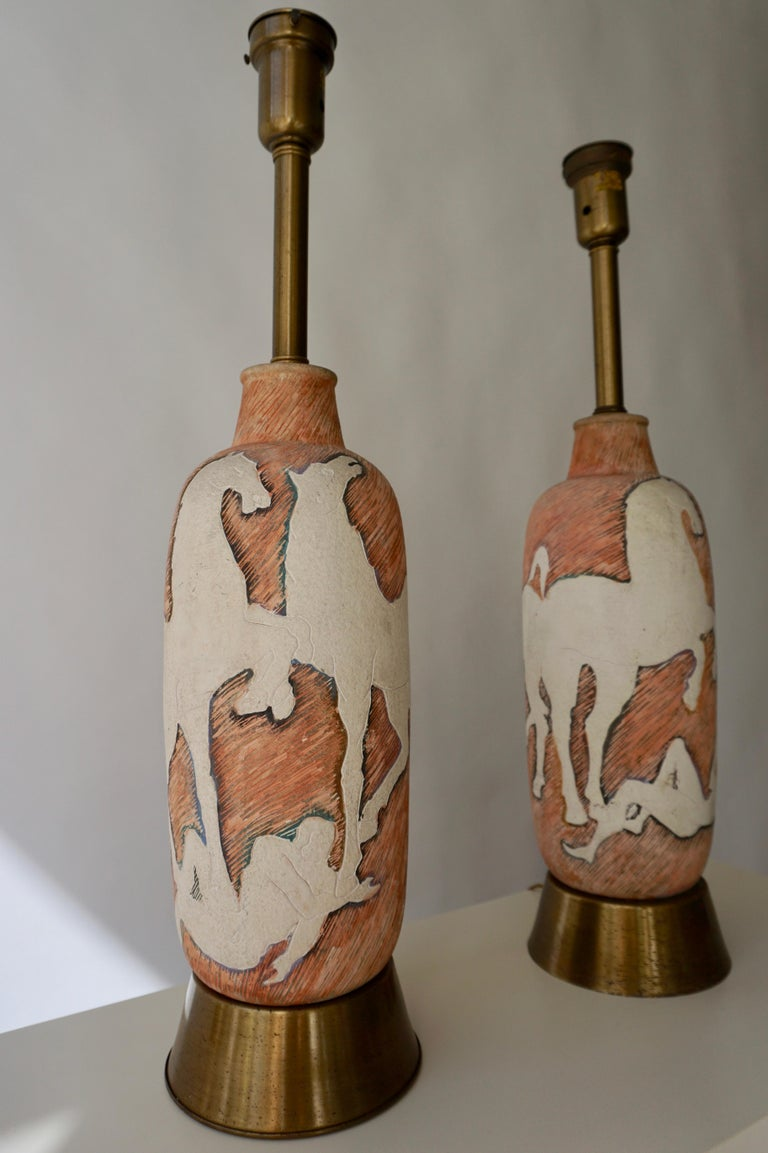 Marcello Fantoni Sculptural Ceramic Lamps, Italy For Sale 3