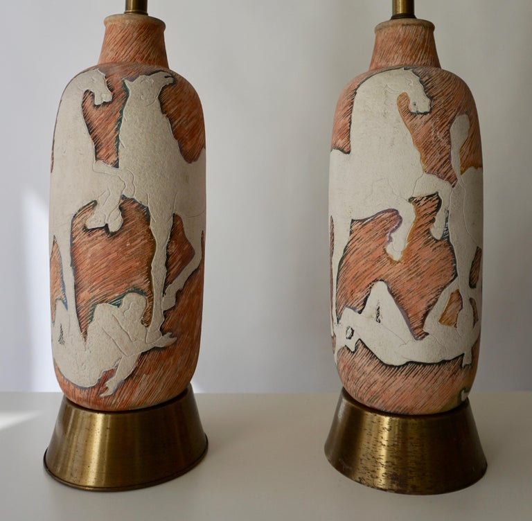 Marcello Fantoni Sculptural Ceramic Lamps, Italy For Sale 8