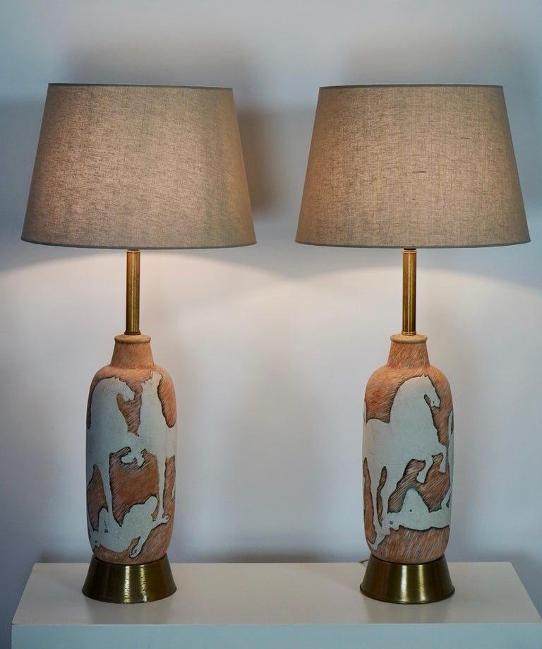 Mid-Century Modern Marcello Fantoni Sculptural Ceramic Lamps, Italy For Sale