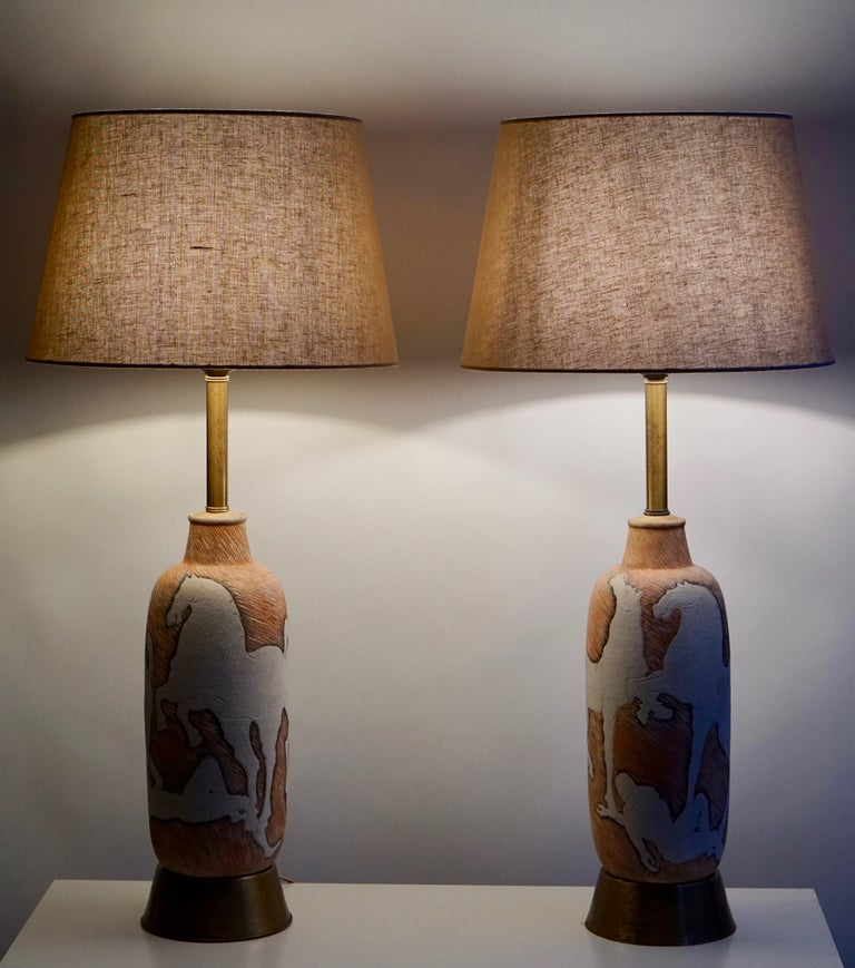 Italian Marcello Fantoni Sculptural Ceramic Lamps, Italy For Sale