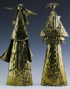 Marcello Fantoni Firenze Raymor Pair Figures Welded Brutalist Italian Sculpture