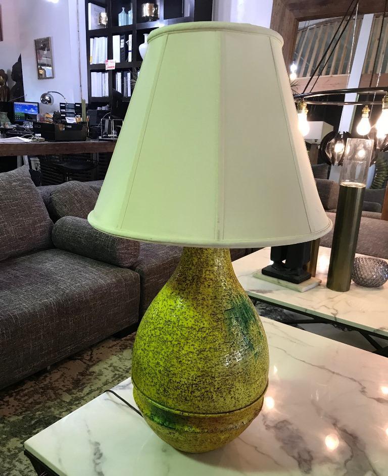 Marcello Fantoni Signed Midcentury Italian Raymor Glazed Ceramic Table Light For Sale 6