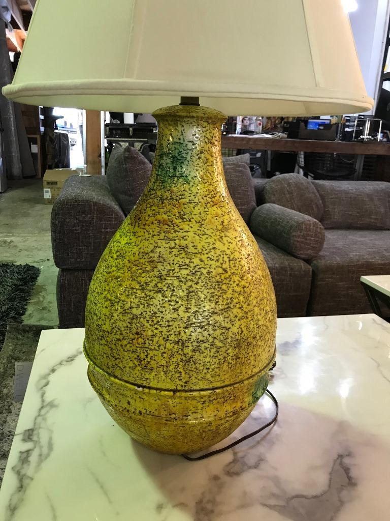 Marcello Fantoni Signed Midcentury Italian Raymor Glazed Ceramic Table Light For Sale 1