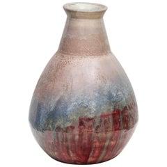 Marcello Fantoni Signed Large Brutalist Polychrome Ceramic Vase, 1960s