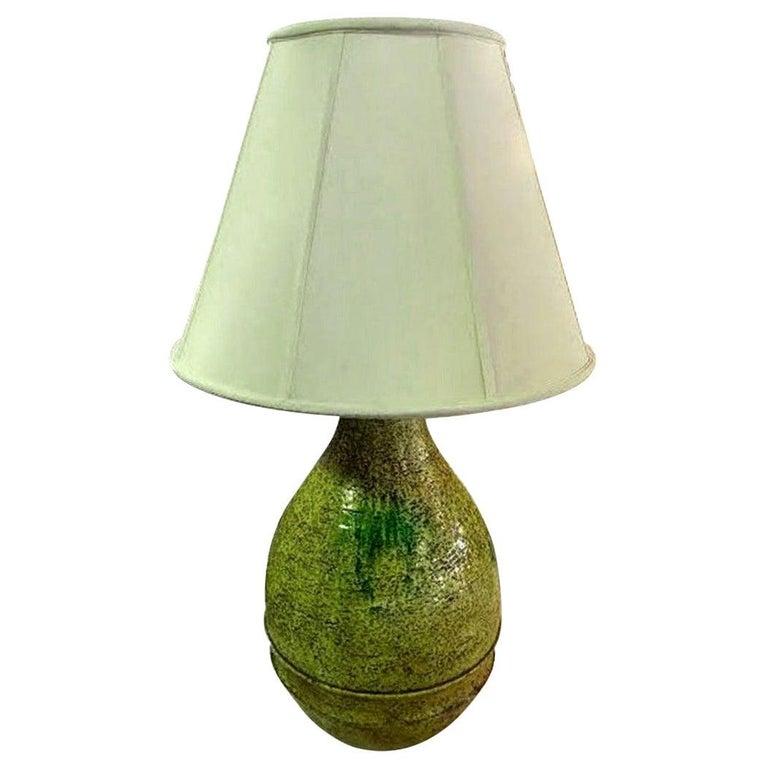Marcello Fantoni Signed Midcentury Italian Raymor Glazed Ceramic Table Light For Sale