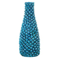 Marcello Fantoni Vase, Ceramic, Blue Pinecone, Signed