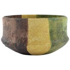 Marcello Fantoni Yellow, Green and Burgundy Ceramic Bowl, circa 1970s