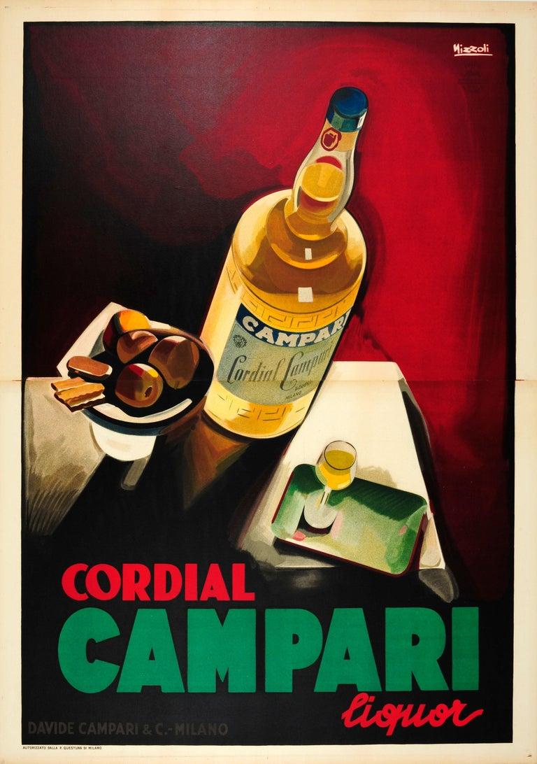 Marcello Nizzoli Print - Large Original Vintage Drink Poster By Nizzoli For Cordial Campari Liquor Milano