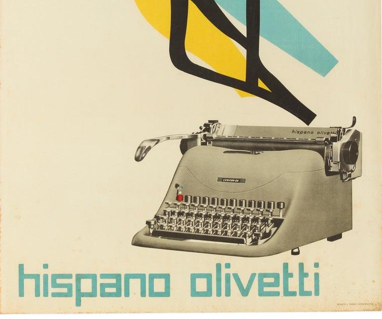 Original Vintage Poster Lexicon Hispano Olivetti Typewriter Graphic Design Bird - Beige Print by Marcello Nizzoli