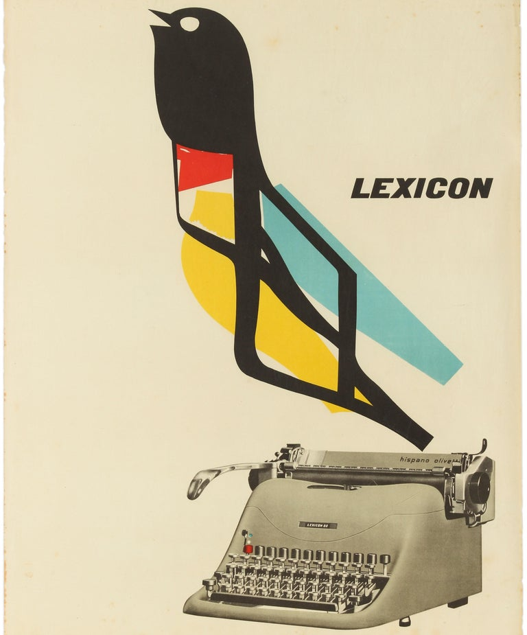 Original vintage avant garde advertising poster for the Lexicon Hispano Olivetti 80 typewriter model featuring a great mid-century graphic design depicting a colourful bird flying above a photograph of a new Olivetti typewriter with the stylised