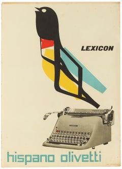 Original Vintage Poster Lexicon Hispano Olivetti Typewriter Graphic Design Bird