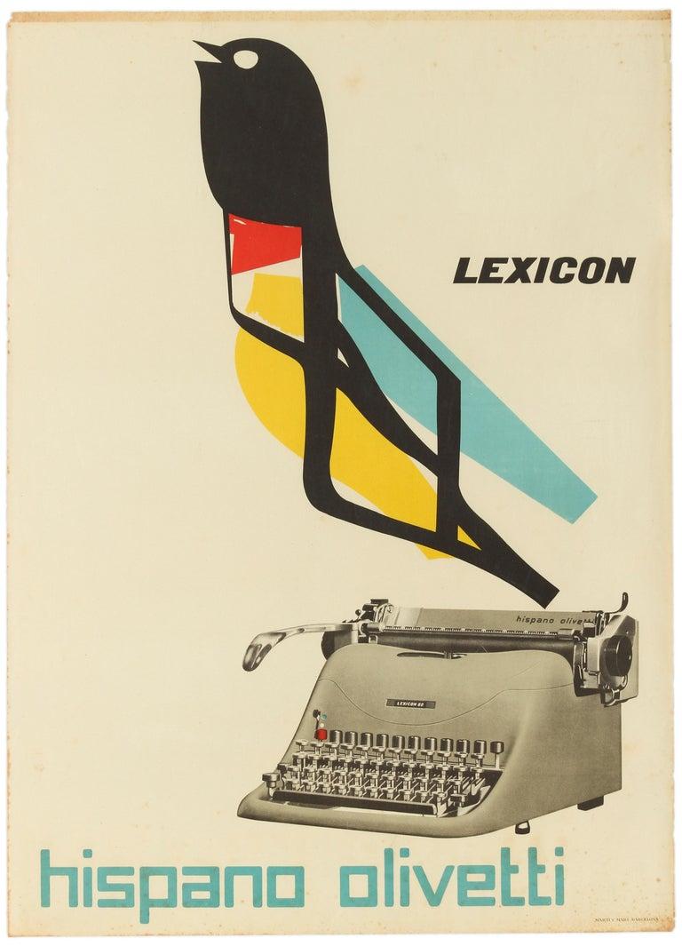 Marcello Nizzoli Print - Original Vintage Poster Lexicon Hispano Olivetti Typewriter Graphic Design Bird