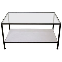 Marcelo Coffee Table with Clear Glass Top and Stone Shelf