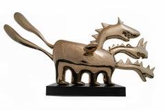 Policephalous - polished bronze sculpture, golden