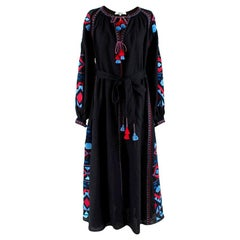 March 11 Black Linen Embroidered Tie-Waist Maxi Dress - Size S