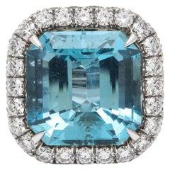 March Birthstone Aquamarine Diamond Platinum Cocktail Ring
