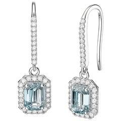 March Birthstone Emerald Cut Aquamarine Diamonds Stud Earrings 18k White Gold