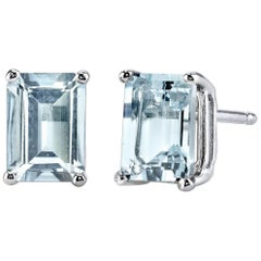 March Birthstone Emerald Cut Aquamarine Stud Earrings 18 Karat White Gold