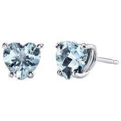 March Birthstone Heart Shape Aquamarine Stud Earrings 18 Karat White Gold