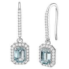 March Birthstone Oval Cut Aquamarine Diamonds Stud Earrings 18 Karat White Gold
