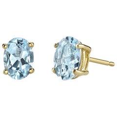 March Birthstone Oval Cut Aquamarine Stud Earrings 18 Karat Karat White Gold