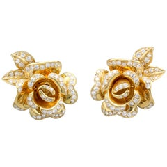 Marchak Diamond and 18 Karat Gold Rose Flower Earrings Earclips