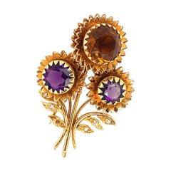 Marchak Gem Stone Flower Pin