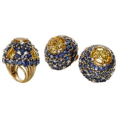 Marchak Paris Blue and Yellow Sapphire and Diamond Suite, circa 1960