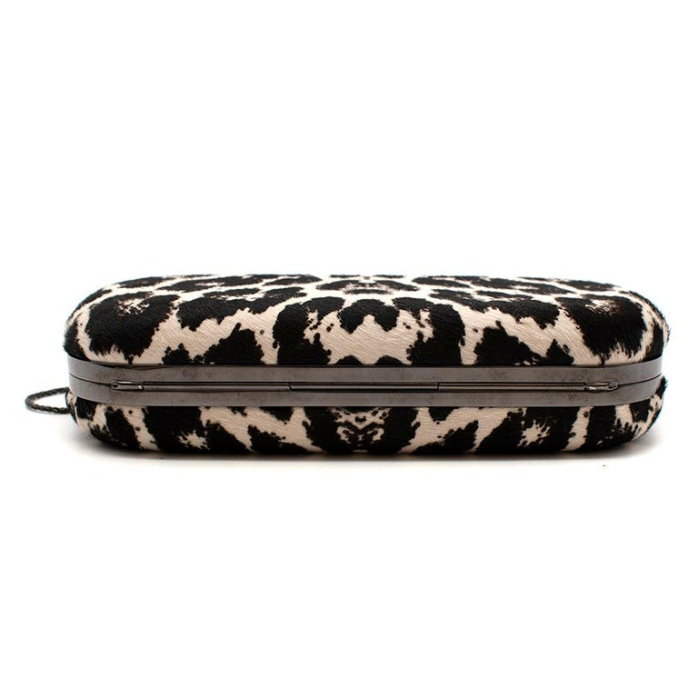 Women's or Men's Marchesa Animal Print Calf Hair Clutch with Quartz Crystal Clasp For Sale