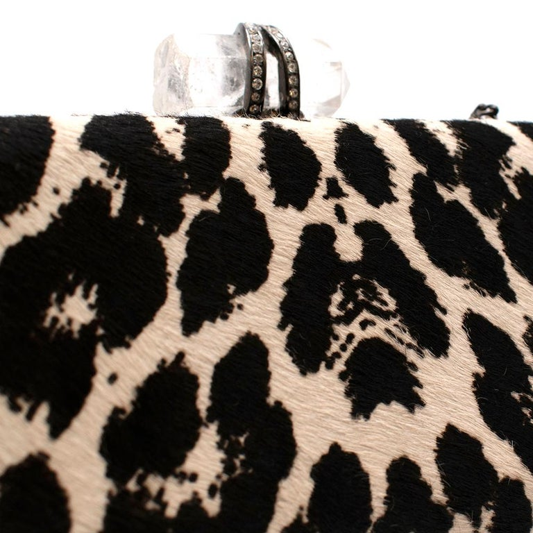 Marchesa Animal Print Calf Hair Clutch with Quartz Crystal Clasp For Sale 1