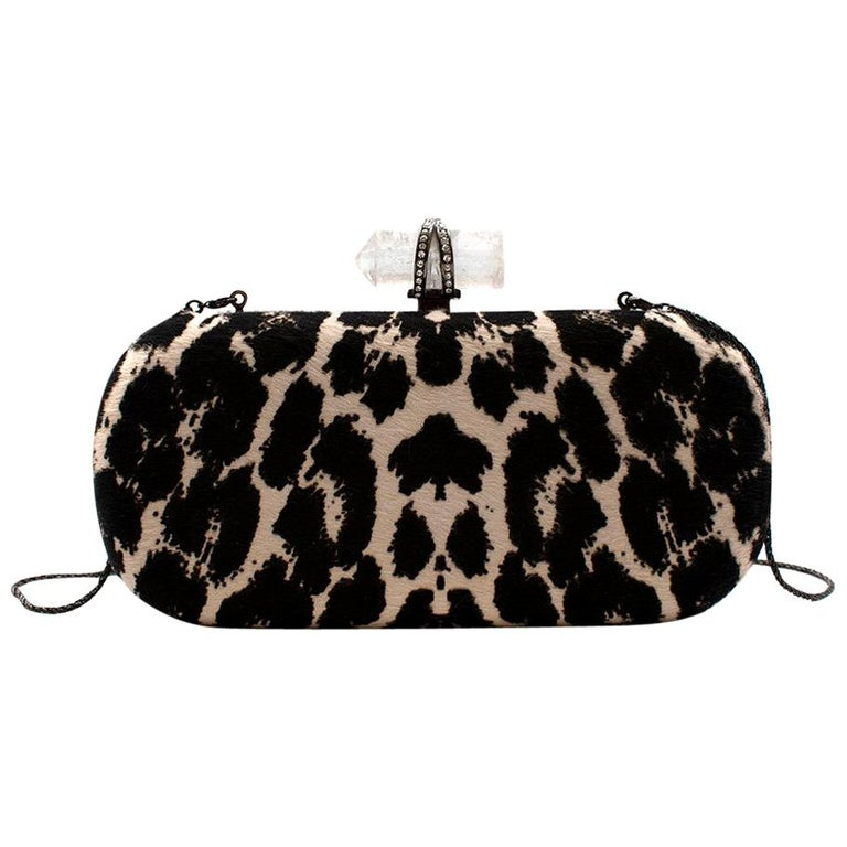 Marchesa Animal Print Calf Hair Clutch with Quartz Crystal Clasp For Sale