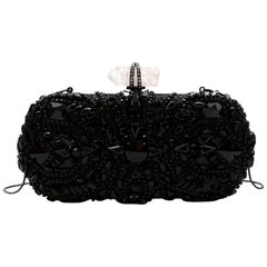 Marchesa Black Lilly Embellished Clutch with Quartz Crystal Detail
