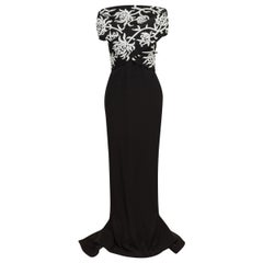 Marchesa Black & White Silk Beaded Gown