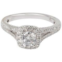 Marchesa Diamond Halo Engagement Ring in 18 Karat White Gold 1.25 Carat