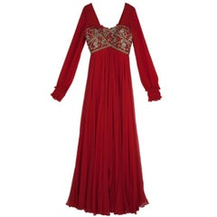 Marchesa Embellished Empire Waist Gown S